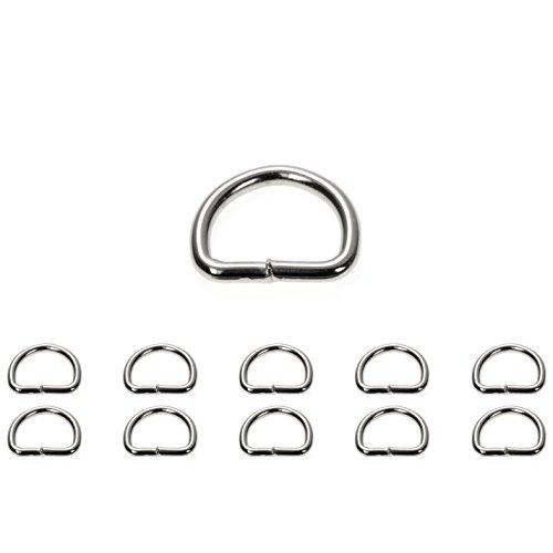 Ganzoo D - Ring aus Stahl, 10 Stück im Set, Stahl- Ring 24mm x 20mm, nichtrostend, Ideal in Verbindung mit Paracord 550 zu verarbeiten, geschweißter Stahl, Farbe Silber Glanz Marke