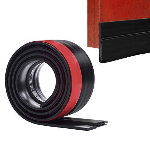 Door Draft Stopper Bottom Seal Strip Weather Stripping Gap Noise Blocker Air Guard Door Sweeps Strong Adhesive, 2' W x 39' L, Black