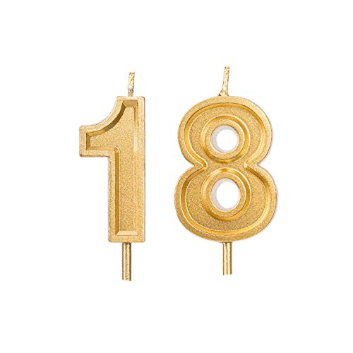 Qj-solar 2.76 inch Gold Number 18 Birthday Candles,18th Cake Topper for Birthday Decorations