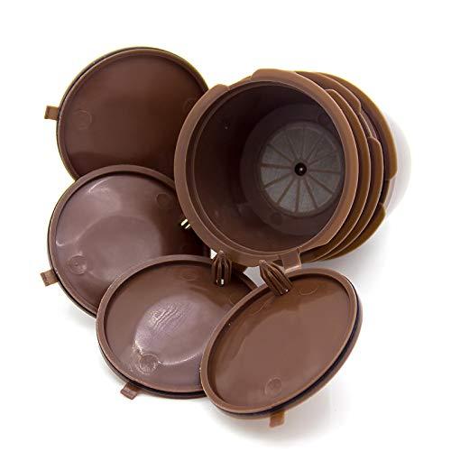 AEUWIER 4 cápsulas de café reutilizables, cápsulas recargables, tazas de filtro compatibles con cápsulas, cápsulas de café sin BPA con 1 cuchara de plástico para máquina Dolce Gusto (marrón)