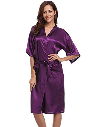 Aibrou Damen Morgenmantel Satin Robe Nachtwäsche Bademantel Kimono Negligee Seidenrobe Schlafanzug Lang Violett S
