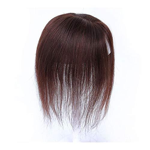LUZIWEN Tous les blocs cheveux naturels perruques remplacement droite tissés à la main remplacement pièce tête d'émission Montant de remplacement (Color : Brown)