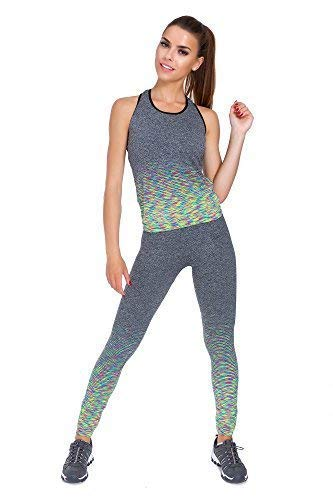 FUTURO FASHION Womens Sport Set Top & Leggings Kleurrijke Patroon Gym Activewear Grootte S-XXL FS06