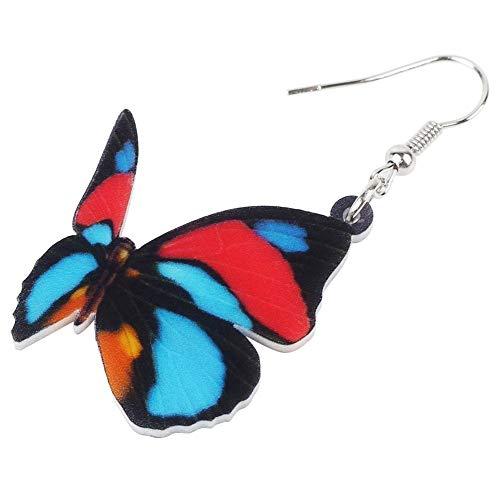 XUBB Acryl Bunte einzigartige Schmetterlingsohrringe Big Drop symmetrischer Insektenschmuck für Frauen Mädchen Damen Geschenk-Statement