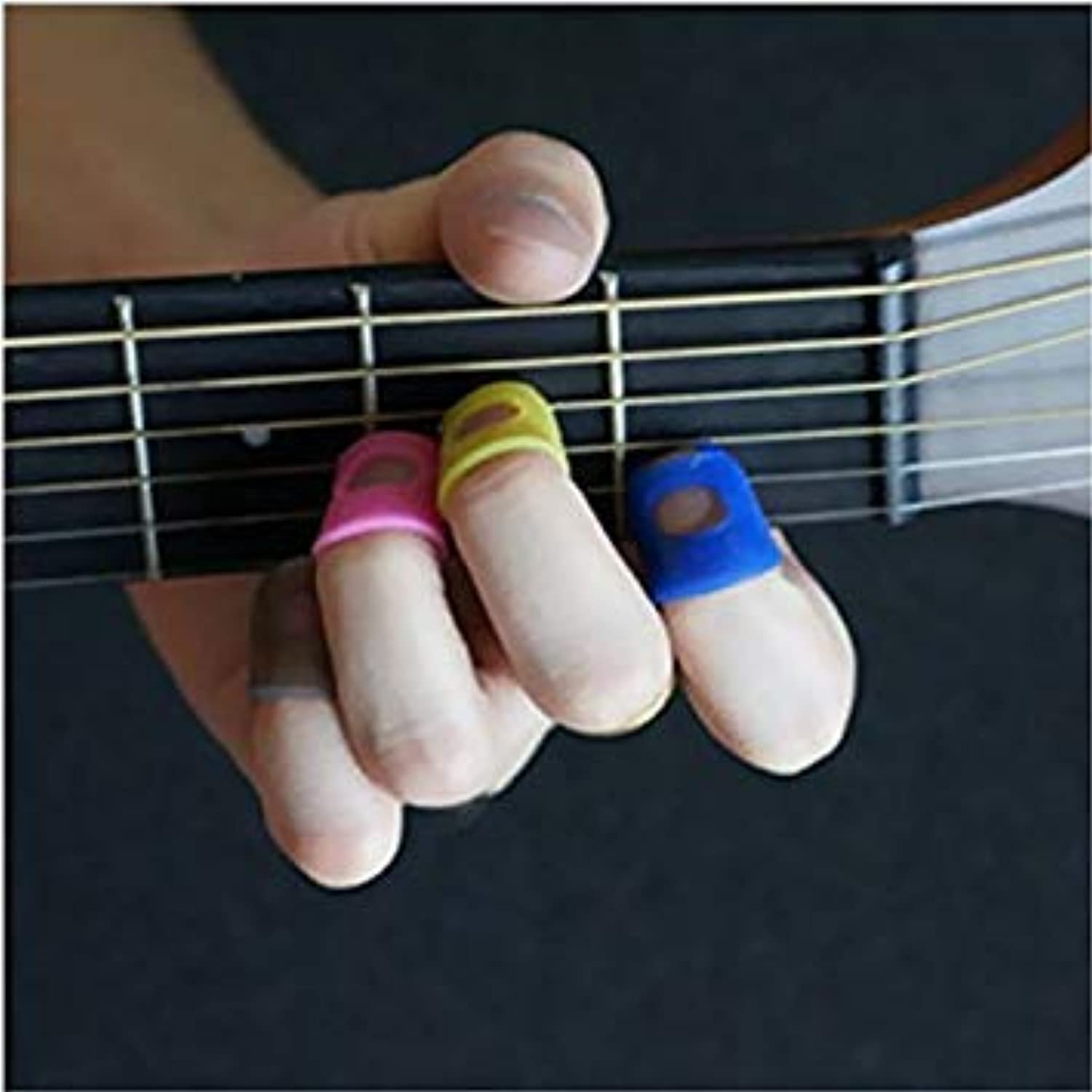 10Pcs Guitar Ukulele Thumb Bass Silicone Fingertip Finger Picks Predector Plectrum