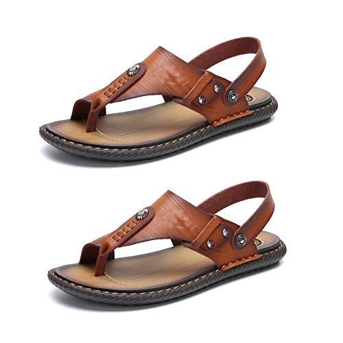 ZGRNB Sandalias Hombre Ocio Ligero Sandalias Planas Exterior Senderismo Zapatos Trekking Casual Zapatos de Montaña Cuero Sandalias de Playa para Viajar y Caminar en Primavera