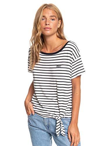 Roxy Damen Wake Up with The Sun - T-Shirt mit Knoten an der Seite für Frauen Screen Tee, Anthracite zoupla horizontale, M
