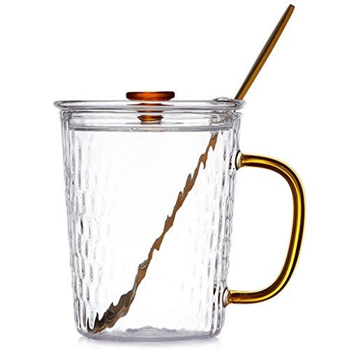 HYJBGGH Koffiemok glas hittebestendige koffiemok met deksel lepel beker verdikt glas theekop creatieve sap kopje huishouden water kopje Europese stijl mok
