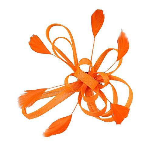 dressfan Feder Haarschmuck Feder Haarspange Damen Braut Fascinator Clip Fascinator Hut Feder Haarspange für Hochzeitsbankett Party Haarspange mit Blume