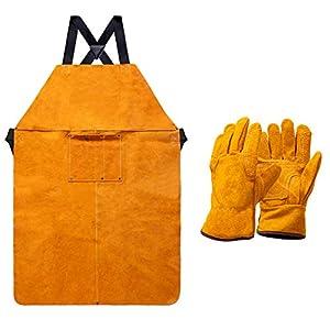 Heavy Duty Work Shop Leather Welding Apron with Welding Gloves 7
