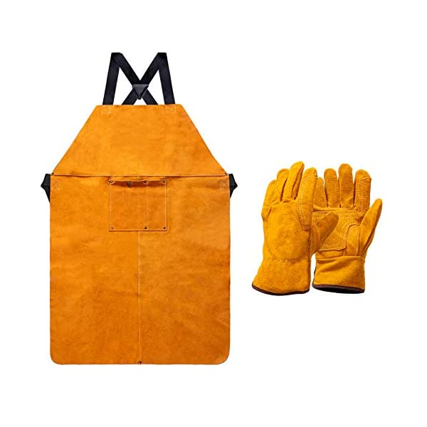 Heavy Duty Work Shop Leather Welding Apron with Welding Gloves 1