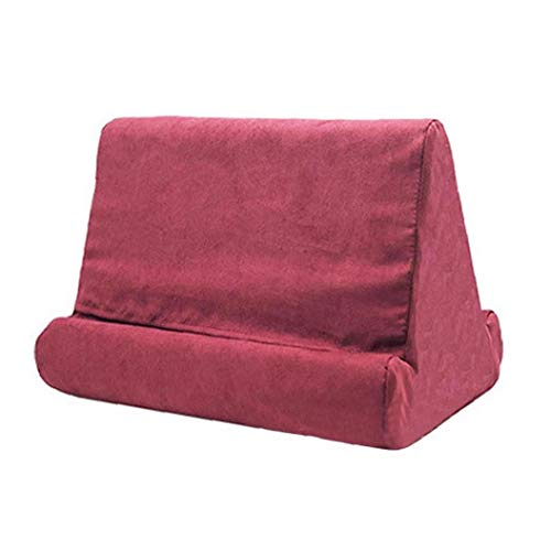 Soft Cell Phone Pillow Pad Pillow Lap Holder Tablet Pillow Cushion Stand Soft Tablet, Book and E-Reader Stand Red Wine