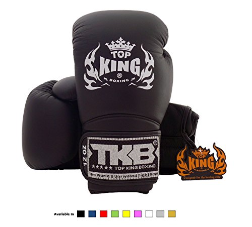 Top King Muay Thai Boxing Gloves Size: 8 10 12 14 16 oz Color: Black White Red Green Blue Pink Yellow Gold Silver. Design: Air, Super Star, Empower Creativity, Ultimate. Training Sparring Boxing gloves for Muay Thai MMA K1 (Air - Solid Black, 10 oz)
