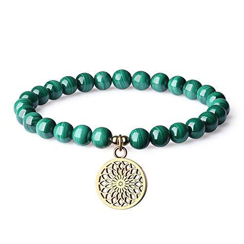 COAI Bracciale Fiore della Vita con Perle in Malachite, Bracciale da Donna Elastico in Pietre Naturali con Amuleto Fiore della Vita in Acciaio Inox