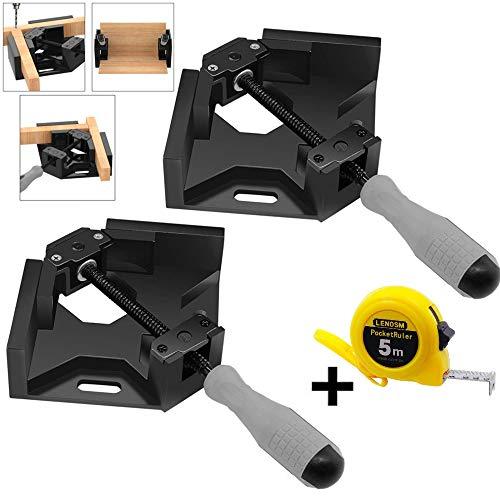 Lubein Winkelklemmen, 90 Grad, Eckhalter, Schweißklemme, 2 Stück, Schraubstock verstellbar, Schwingbank-Werkzeug, perfekt für Tischler, Holzbearbeitung mit einem Maßband, schwarz