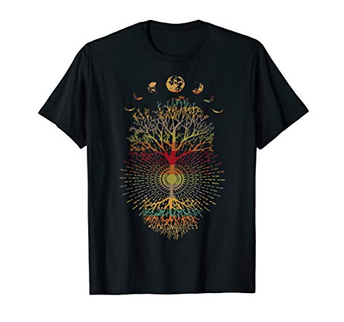 Phases of the Moon Retro 60's 70's Vibe Tree of Life T-Shirt