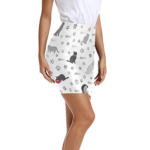 Montoj - Mini falda tipo lápiz, cintura alta, con estampado de huellas de gatos, estampado de huellas y hueso de pescado 1 40