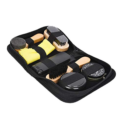 dailymall 7 in 1 Boots Shoe Shine Polish Cleaning Brushes Set Kit in Travel Case Bag