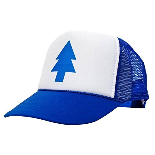 QOHNK Unisex Mujeres Hombres Blue Tree Dipper Gravity Falls Cartoon Mesh Hat Cap Trucker Sombrero De Béisbol