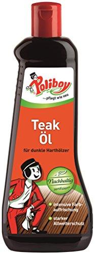 Poliboy - Teak Öl für dunkle Harthölzer - intensive Farbauffrischung - reinigt, pflegt und schützt - 500 ml - Made in Germany