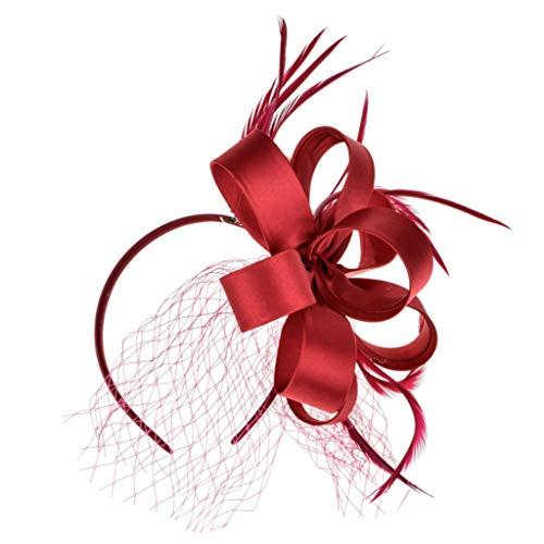 JERKKY Haarband 1 stuk vrouwen dames zijden bloem veren haarband bruiloft bruid hoofdband hoed bal party decoratieve haaraccessoires rood