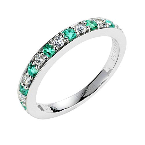 Beydodo Ring für Damen Weißgold 750, Hochzeitsringe Rund Diamant und Smaragd Verlobungsring Gr.58 (18.5)
