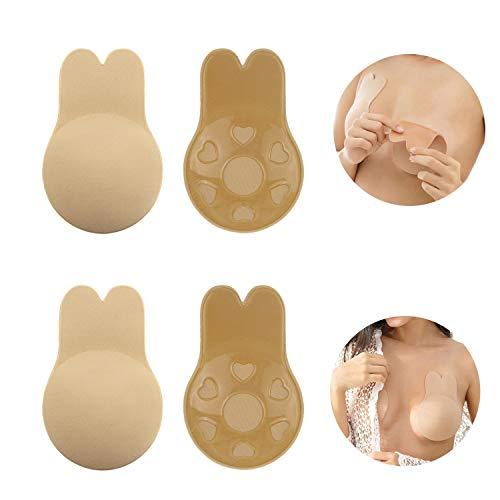Jennary Klebe BH Push Up, Nipple Cover BH Trägerloser Selbstklebender Unsichtbarer Brust Lift Up Adhesiv für Abendkleider (C, Beige)