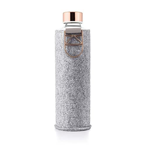 EQUA - Bottiglia in Vetro con Custodia in Feltro Mismatch Rose Gold, 750 ml, Borraccia in Vetro con Custodia Protettiva, 0,75 l, Borraccia Sportiva con Copertura