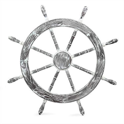 30' Antique White Nautical Decorative Premium Pine Wood Ship Wheel | Captain Maritime Beach Home Decor Gift - Nagina International