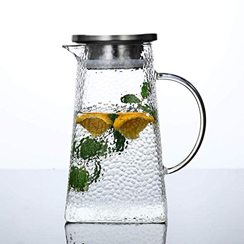 Zixin Household Jug, Bubble Tea, Juice Glass, Thickened, High Tempature Resistance, Open Kettle, Gift, Cold Kettle, Glass-1500Ml Round Kettle (Size : 1300ML single kettle)