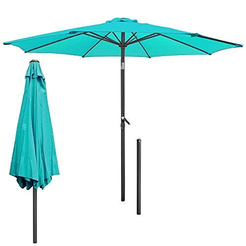 ECD Germany Sombrilla de Playa Ø 300 cm de Aluminio Redonda Turquesa Parasol de Jardín con Manivela con Protección UV Inclinable/Plegable con 6 Costillas Paraguas para Mercado Piscina Camping