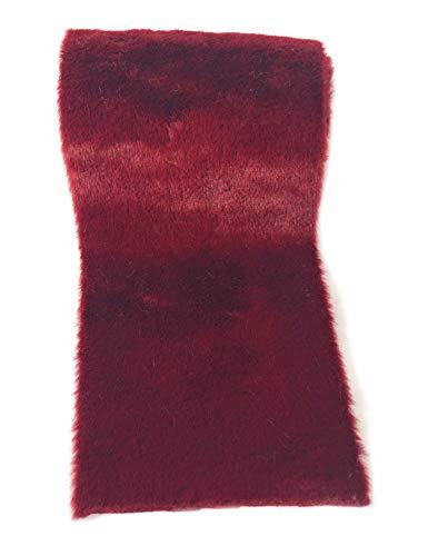 Kreaboo Fellband Kunstfell Tischband Tischläufer Dekoband Fell für Weihnachten Dekoration Basteln (15cm x 2m – Weinrot)