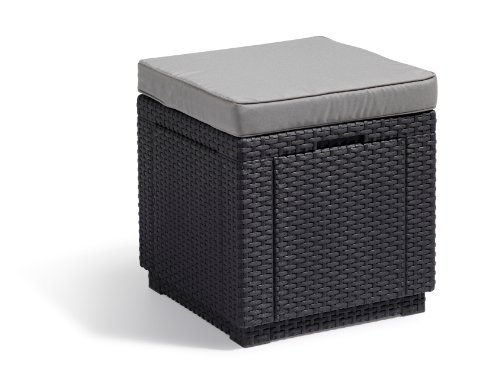 Keter Outdoor Garden Storage Seat Stool with Cushion, Graphite with Grey Cushion