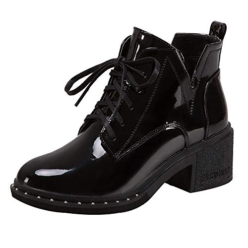JiaMeng Mujer Retro Otoño Invierno Botines Calentar Botas con Cordones Planas de Moda Punta Redonda Zapatos Casuales de Charol (Ropa)