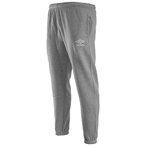 Umbro Pantalones de Forro Polar para Hombre, Hombre, Pantalones, 64877U, Gris Marl/Blanco, S