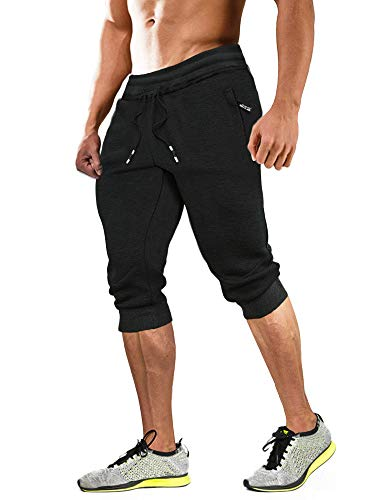MAGCOMSEN Capri Joggers Men 3/4 Sweatpants Below Knee Shorts Running Shorts Walking Shorts Gym Shorts Zipper Pockets Jogger Pants for Men Black