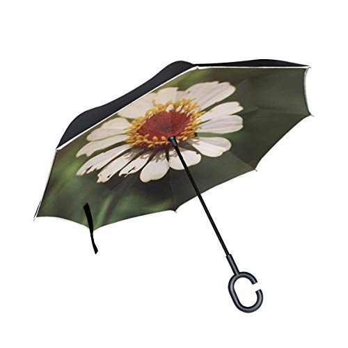 NQEONR Double Layer Inverted White Flower Flower Blossom Bloom White Flora Umbrellas Reverse Folding Umbrella Windproof Uv Protection Big Straight Umbrella for Car Rain Outdoor with C-Shaped Handle