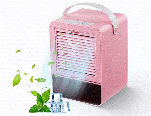 Mini Air Cooler Geräuschlos Klimagerät Mobil Kleiner Kühlerlüfter Luftbefeuchter mit 3 Geschwindigkeiten für das Home Office (Rosa)