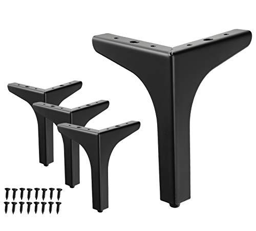 WEICHEN 7 inch Metal Furniture Legs Metal Polishing Black Triangle Sofa Legs for Table Cabinet Cupboard Sofa Furniture Feet Set of 4 (Black 7inches)