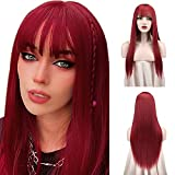 Sofeiyan 26 inches Long Straight Wig with Bangs Red Synthetic Hair Replacement Wigs Heat Resistant Full Wig for Women Girls