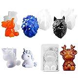 DoreenBow 5 PCS 3D Animal Silicone Resin Molds,Silicone Resin Casting Molds,Wolf Head,Lion Head,Elk Bear,Dumbo,Trumpet Unicorn Resin Casting Molds,for DIY Resin Craft
