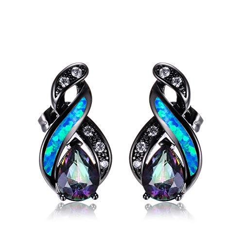 Plata 925 Pendientes Mujer, Azul Opal Brillante Gota De Agua Clips De...