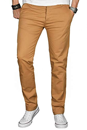 A. Salvarini Herren Designer Chino Stretch Stoff Hose Chinohose Regular Slim mit Elasthananteil AS024 [AS-024-Camel-W33 L30]