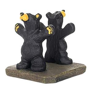 Joe and Roscoe Bears Classic Black 7 x 6 Hand-Cast Resin Stone Napkin Holder