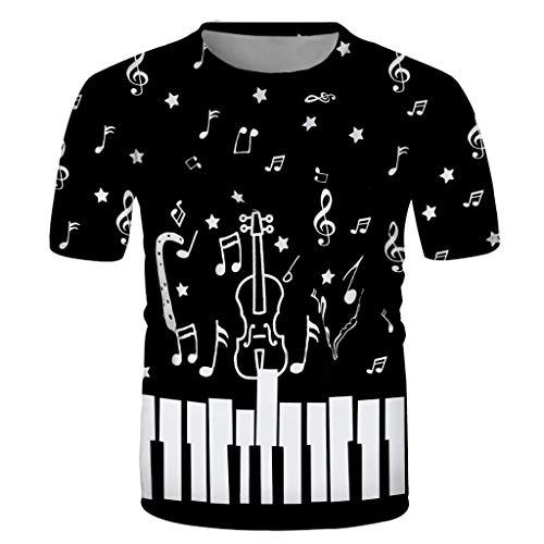 Sylar Camisetas Basicas Hombre Manga Corta Casual Nota Musical Estampado T-Shirt Originales Slim fit Cuello Redondo cómodo Transpirable Camiseta de Verano Tops XXXL