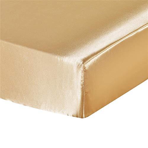Milopon Spannbetttuch Satin Seide Spannbettlaken Superweich Bettlaken für Wasser- und Boxspringbett (Gold, 180 x 200 cm)