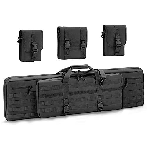 "WINCENT Double Long Rifle Bag Case Soft Padded Tactical Pistol Gun Range Bag Firearm Transportation Backpack - Lockable Zipper 46"" Black"