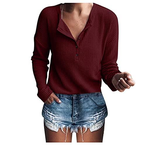 HEling Blusa de punto para mujer de punto, túnica, tops, suelta, de manga larga, cuello en V,...