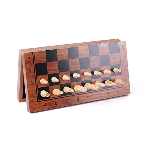 Montloxs Juego de ajedrez Plegable de Madera magnética con de Fieltro Tablero de ajedrez Plegable Interior Tablero liviano de Viaje Juguetes educativos Juego de salón al Aire Libre Juguete