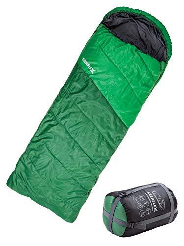KeenFlex Saco de Dormir para Todo el año Resistente al Agua y con Sistema de Control avanzado de la Temperatura – Ideal para Camping Senderismo Festivales pos su Sistema Doble (Verde)